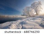 real russian winter. morning... | Shutterstock . vector #688746250