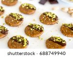vegan and raw pistachio cookies ... | Shutterstock . vector #688749940