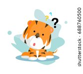 curious flat wild orange tiger... | Shutterstock .eps vector #688760500