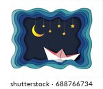 boat is sailing in the sea... | Shutterstock .eps vector #688766734