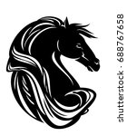 horse head with long beautiful... | Shutterstock .eps vector #688767658