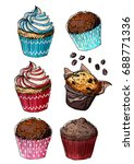 muffins drawn line is not white.... | Shutterstock .eps vector #688771336