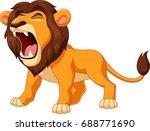 cartoon lion roaring | Shutterstock .eps vector #688771690