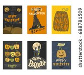set of happy halloween greeting ... | Shutterstock .eps vector #688781509