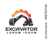 excavator vector logo template. ... | Shutterstock .eps vector #688783768