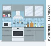 small kitchen room with... | Shutterstock .eps vector #688785004