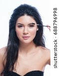 eyebrows care. closeup of woman ...   Shutterstock . vector #688796998