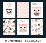 cute vector set with invitation ... | Shutterstock .eps vector #688801594