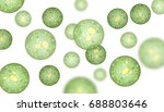 Single-cell algae with lipid droplets. Biofuel production. Illustration of microalgae under the microscope, isolated on white.