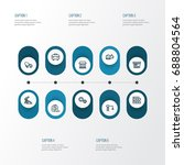 architecture outline icons set. ... | Shutterstock .eps vector #688804564