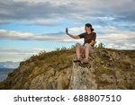 female middle aged hiker taking ... | Shutterstock . vector #688807510