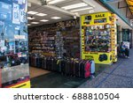 Small photo of MAY 30 2016 - San Francisco, CA: Electronics store in Fisherman's Wharf sells luggage as well as GoPro cameras, DSLR cameras and other electronic equipment.
