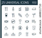 restaurant icons set.... | Shutterstock .eps vector #688811710