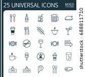restaurant icons set.... | Shutterstock .eps vector #688811710