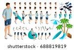 isometric set of gestures of... | Shutterstock .eps vector #688819819