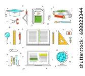 vector set of school tools thin ... | Shutterstock .eps vector #688823344