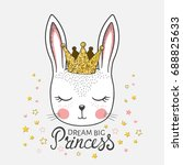 Stock vector cute bunny girl with crown dream big princess 688825633