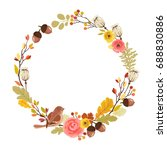 autumn wreath with bird ... | Shutterstock .eps vector #688830886