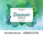 summer sale banner. summer sale ... | Shutterstock . vector #688832530