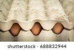 fresh eggs in tray isolated... | Shutterstock . vector #688832944