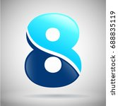 number eight logo. blue and...   Shutterstock .eps vector #688835119