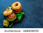 vegan breakfast burger with... | Shutterstock . vector #688838050