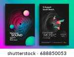 Stock vector electronic music festival poster with abstract gradient lines vector template design for flyer 688850053