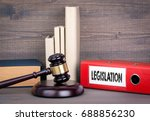 legislation. wooden gavel and... | Shutterstock . vector #688856230