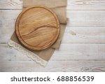 pizza board and canvas napkin... | Shutterstock . vector #688856539