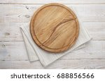 pizza board and canvas napkin... | Shutterstock . vector #688856566
