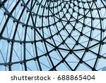 structural glass facade curving ... | Shutterstock . vector #688865404