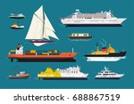 water transport. set of flat... | Shutterstock .eps vector #688867519