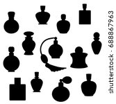 black perfume bottle outline on ... | Shutterstock .eps vector #688867963