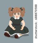 evil doll on dark background ... | Shutterstock .eps vector #688870588