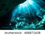 cenote ponderosa  sunbeams... | Shutterstock . vector #688871638