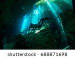 cenote ponderosa  sunbeams... | Shutterstock . vector #688871698