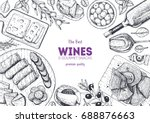 wines and gourmet snacks frame... | Shutterstock .eps vector #688876663