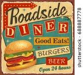 vintage roadside diner metal... | Shutterstock .eps vector #688887778