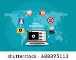 video marketing concept.... | Shutterstock .eps vector #688895113