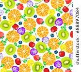 seamless pattern ripe red... | Shutterstock .eps vector #688897084
