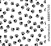 dog paws and bones hand drawn... | Shutterstock .eps vector #688897150