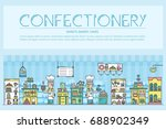 happy people baking and... | Shutterstock .eps vector #688902349