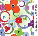seamless colourful pattern with ... | Shutterstock .eps vector #68890510