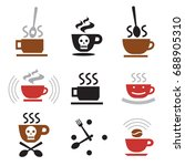 hot coffee funny icons. set of... | Shutterstock .eps vector #688905310