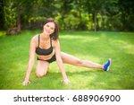 beautiful sporty woman doing...   Shutterstock . vector #688906900