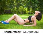 beautiful sporty woman doing...   Shutterstock . vector #688906903