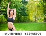 beautiful sporty woman doing...   Shutterstock . vector #688906906