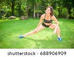 beautiful sporty woman doing...   Shutterstock . vector #688906909