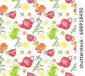 seamless pattern. tea party. | Shutterstock . vector #688918450