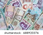 variety of middle east banknotes | Shutterstock . vector #688920376